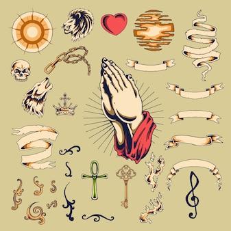 Satz der weinlese-traditionellen religiösen tätowierung