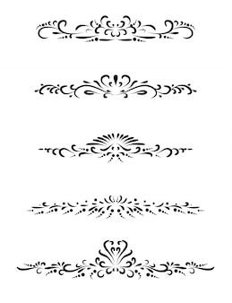 Satz der weinleselinie mit schönem mit filigran geschmücktem, seitenteilern und gestaltungselementen