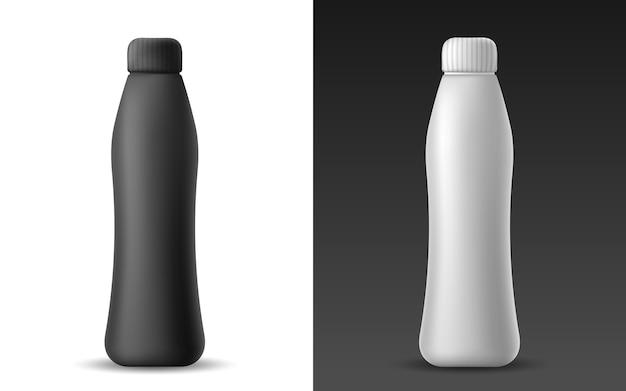 Satz der weißen und schwarzen realistischen plastikflasche