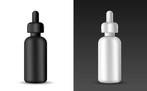 Satz der weißen und schwarzen realistischen serumflasche