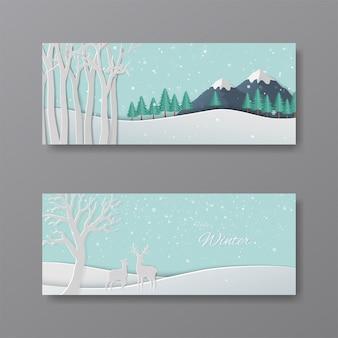 Satz der winterkollektion, papierkunstrotwild im wald mit schneeflocken