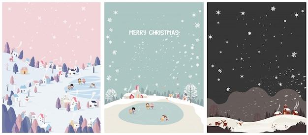 Satz der wintersaisonpostkarte frohe weihnachten.