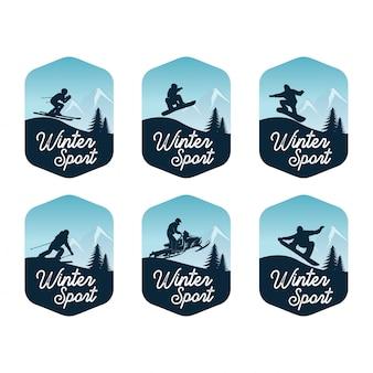 Satz der wintersport-ausweisschablone