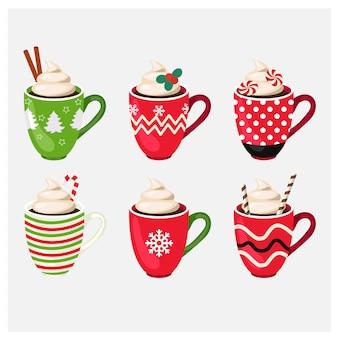 Satz der winterurlaub-weihnachtsschale mit heißem getränk