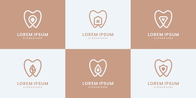 Satz der zahnmedizinischen logosammlung. minimalistische medizin, klinik, gesunde logo-design-vorlagen.