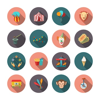 Satz der zirkusaffe-löweclownebene lokalisierte ikonen mit langen schatten auf kreisen