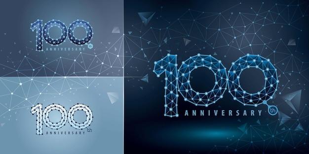 Satz des 100-jährigen jubiläums-logo-designs hundert jahre feiern jubiläums-logo abstraktes connect dots-tech-nummer-logo