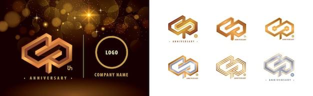 Satz des 40-jährigen jubiläums-logos 40 jahre jubiläumsfeier 40 jahre hexagon infinity-logo