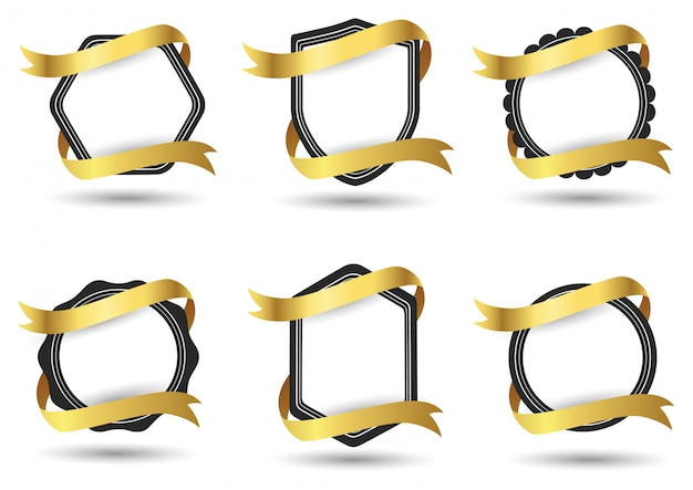 Satz des abstrakten abzeichens mit goldband lokalisiert auf weißem hintergrund. illustration
