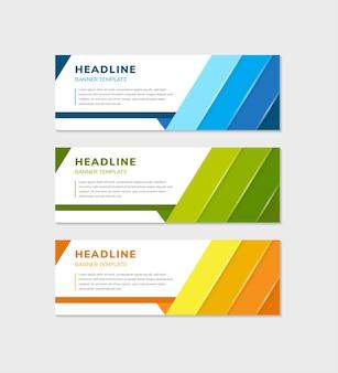 Satz des abstrakten bannervorlagendesigns für ihr geschäft verwenden horizontales layout. drei ausgewählte farben sind blau, grün und gelb.