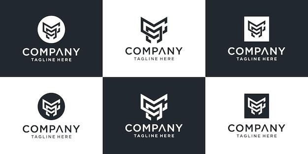Satz des abstrakten entwurfs des kreativen monogrammbuchstaben cm-logos