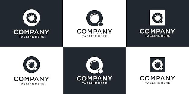 Satz des abstrakten entwurfs des kreativen monogrammbuchstabens q-logos