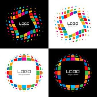 Satz des abstrakten hellen halbton-logos. vektor
