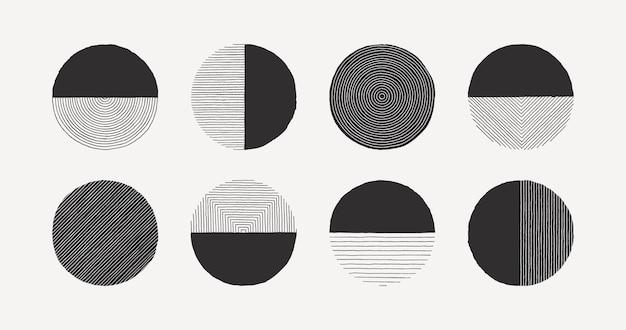 Satz des abstrakten linienkreises in der minimalen modischen art lokalisiert auf weißem hintergrund. vektor-rundes grafisches element der handgezeichneten textur zum erstellen von mustern, einladungen, postern, karten