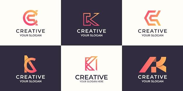 Satz des abstrakten logoentwurfs des kreativen buchstabens k.