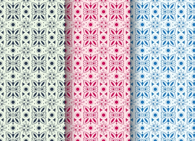 Satz des abstrakten nahtlosen musters mit abstrakten formen wie einem virus und schmetterling. die pastellfarben sind blau, lila und pink.