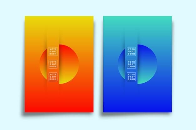 Satz des abstrakten plakats mit farbverlauf.