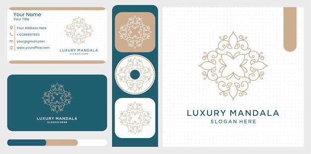 Satz des abstrakten symbols der luxusblume mandala in zier
