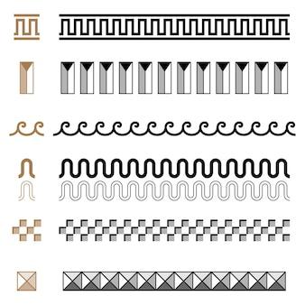 Satz des altgriechischen nahtlosen ornament-konstruktors grenzt rahmenmuster ein. sammlung nahtloser traditioneller vintage-ornamente. aus griechenland