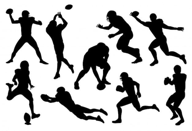 Satz des amerikanischen fußballspielers der silhouette