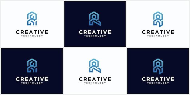 Satz des anfänglichen r-logo-monogramm-negativraums kreative und minimalistische buchstaben, r-logo-bearbeitbares icon-design im blauen farbvektorformat
