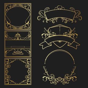 Satz des art nouveau-elementvektors der weinlese goldener