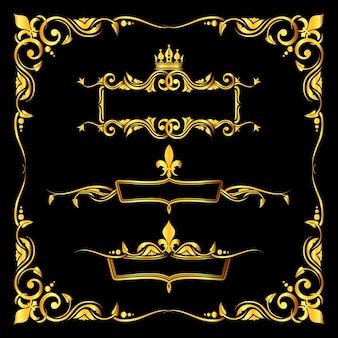 Satz des aufwändigen goldenen königlichen rahmenschwarzhintergrundes