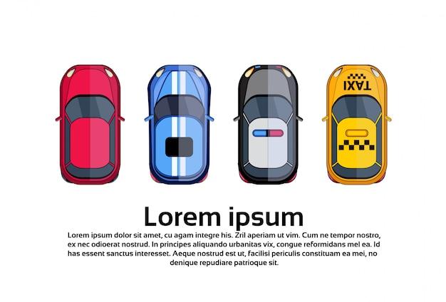 Satz des auto-draufsicht-taxis, polizeifahrzeug lokalisiert auf weiß