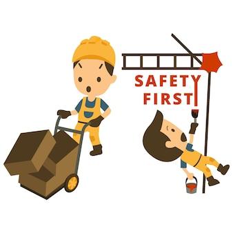 Satz des bauarbeiters, arbeitsunfall, sicherheit zuerst, gesundheit und sicherheit