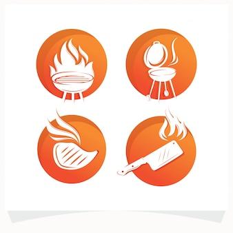 Satz des bbq-steak-grill-haus-logos