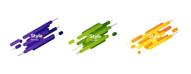 Satz des blauen, grünen, orange abstrakten modernen spritzens formt fahne