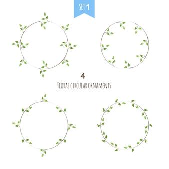 Satz des blumenkreisrahmens mit grünen blättern