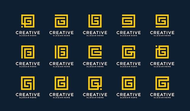 Satz des buchstaben g-logos im quadratischen stil