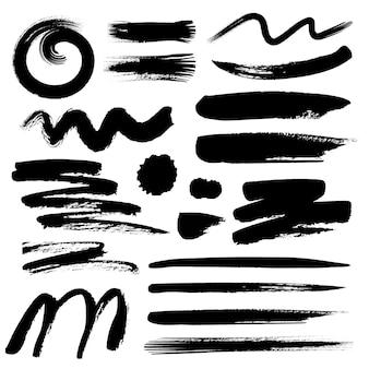 Satz des bürstenanschlags, schwarze tintenschmutzbürstenanschläge.