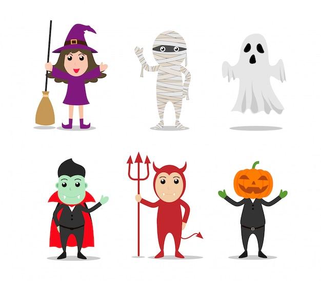 Satz des charakterkarikatur-halloween-monsterkostens