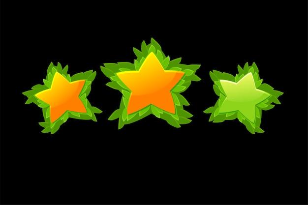 Satz des dekorativen sternbewertungsspiels des vektors mit blättern