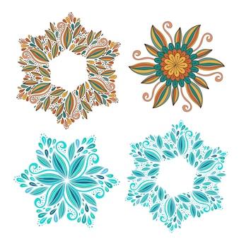Satz des dekorativen vektorrahmens. moderne elemente für design. schöner hintergrund für verpackung oder druckdekoration