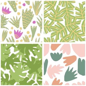 Satz des einfachen freihändigen tropischen grüns lässt nahtloses muster. exotische pflanzen