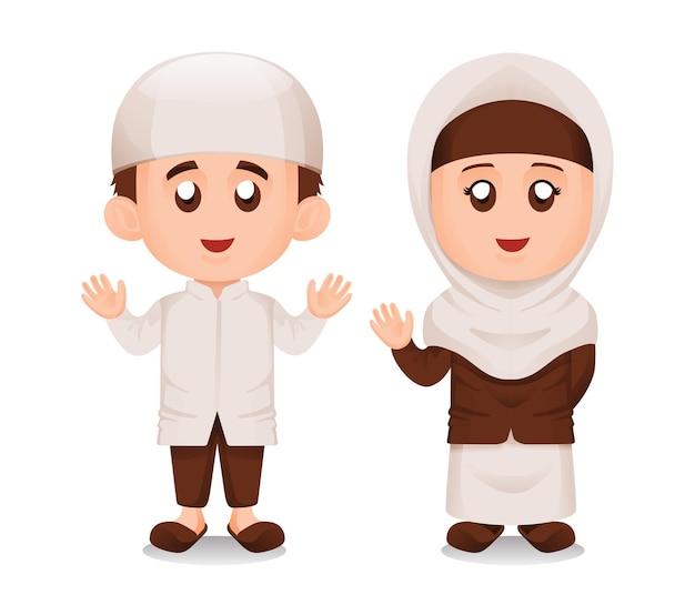 Satz des einfachen niedlichen muslimischen oder muslimischen kinderjungen- und -mädchenlächelns und des winkenden handillustrationskonzepts