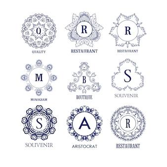 Satz des einfachen und eleganten blauen monogramms des luxus