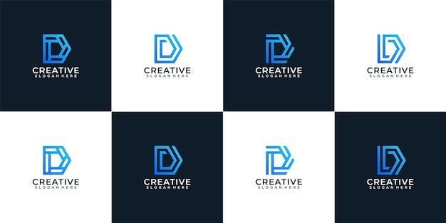 Satz des eleganten firmentypografiebuchstaben-d-logodesigns des farbverlaufs