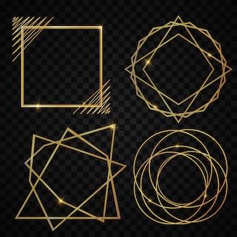 Satz des eleganten realistischen geometrischen goldenen luxusrahmens mit art- decoart der lichteffekte. leuchtendes banner. glühende illustration für, grußfeiertagskarte, geschenk.