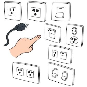 Satz des elektrischen schalters und des steckers
