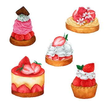 Satz des erdbeer- und schokoladenkuchens im aquarell