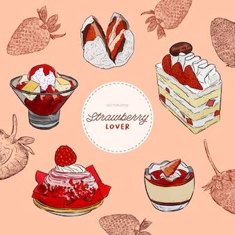 Satz des erdbeerliebhabers, nachtisch. kuchen, pudding, eis rasieren, etc. hand zeichnen skizzenvektor.