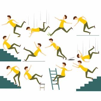 Satz des fallenden mannes lokalisiert. vom stuhlunfall fallen, treppe hinunterfallen, gleiten und stolpernde fallende mannvektorillustration.