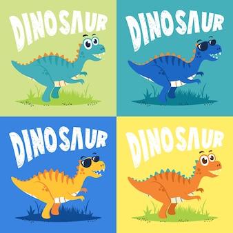 Satz des flachen designvektors der netten dinosauriercharakterkarikaturillustration