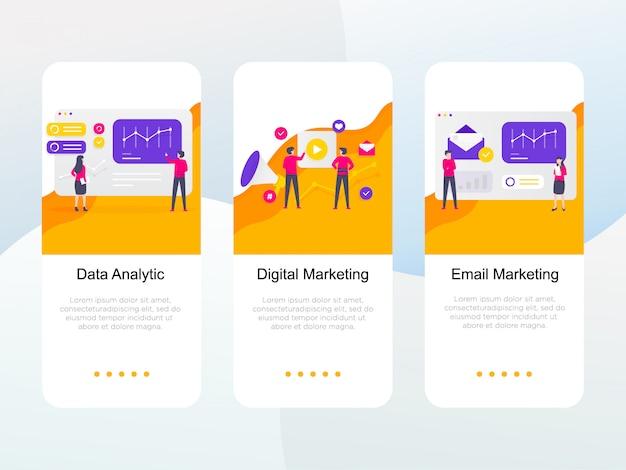 Satz des flachen digitalen marketings auf einstiegsbildschirm