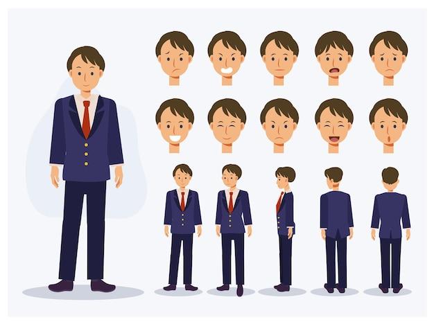 Satz des flachen vektorcharakters japanischer studentenjunge in der uniform mit verschiedenen ansichten, karikaturart.