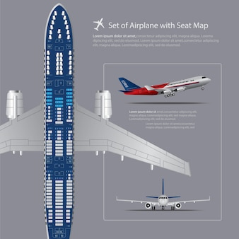 Satz des flugzeuges mit seat map isolated vector illustration